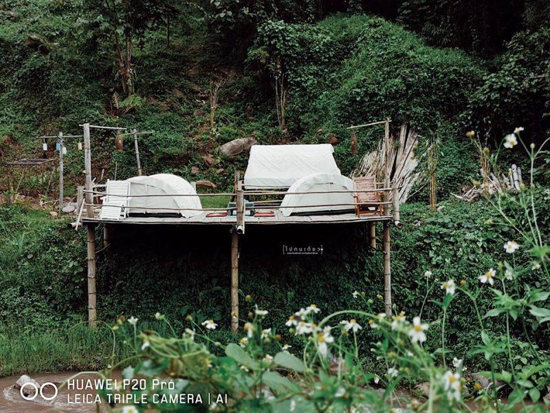 ที่พักเต็นท์ริมน้ำ น่าน ที่พักบ่อเกลือ จ. น่าน
